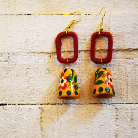 Yarn with Hand Painted Bell Earrings Handcrafted by Women Artisans of Varanasi