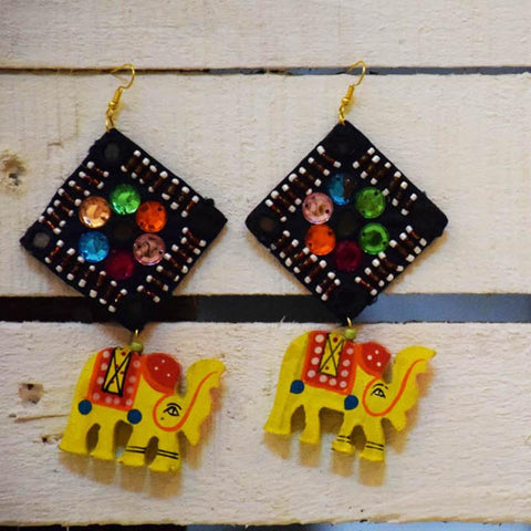 Yellow Haathi Stone Earrings Handcrafted by Women Artisans of Varanasi