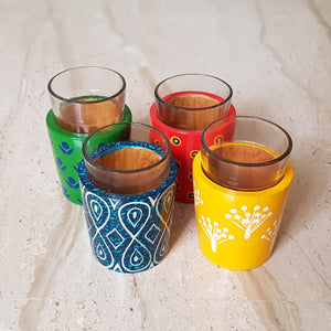 Chai Glasses in Hand-Carved Banarasi Woodwork (Set of 4)