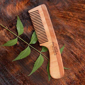 Ancient Living Neem Wood Comb With  Handle