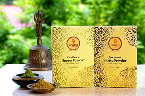 Plant-based Henna + Indigo Hair Dye Set, 200g