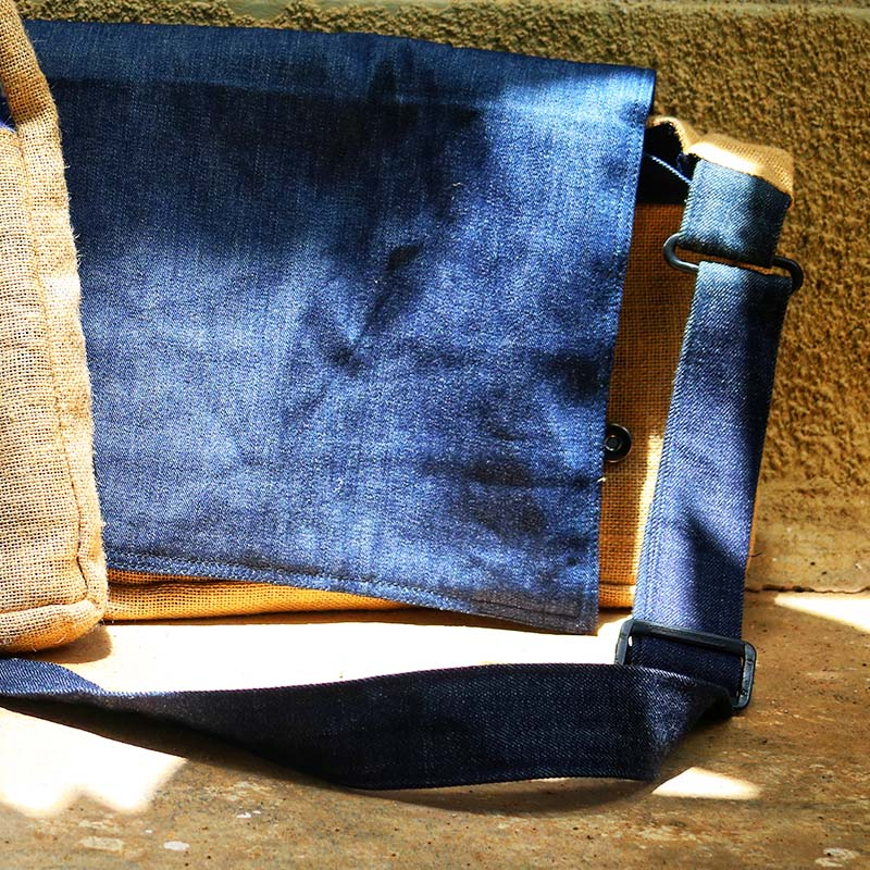 Upcycled Jute and Denim Laptop Bag created by women slum-dwellers from Hyderabad