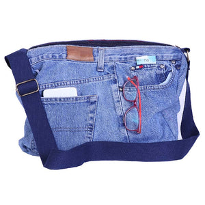 Zippered Messenger Bag made with Upcycled Jeans