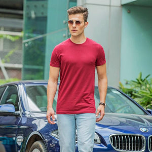 100% Organic Cotton Round Neck T-shirt (Meticulous Maroon)