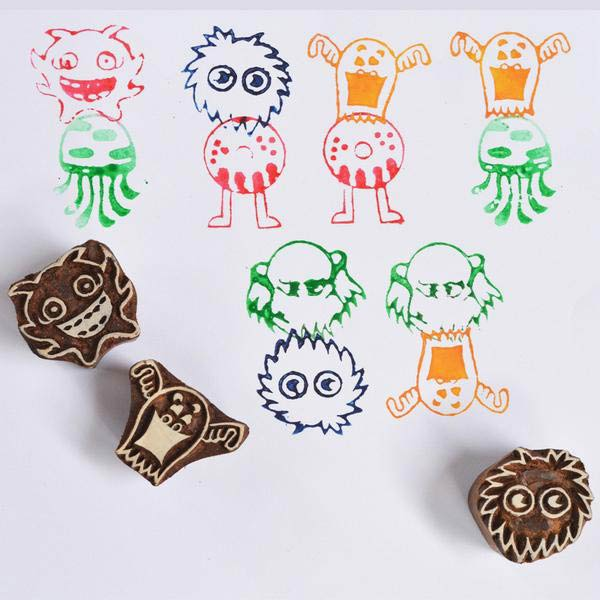 Monster Fun Wooden Stamps Set (Set of 6 stamps)