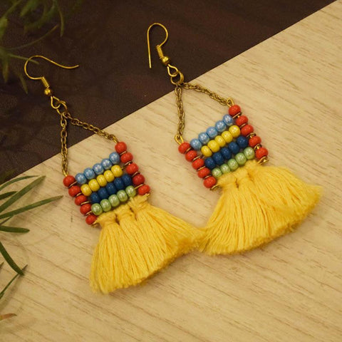 Beads with Tassel Earrings Handcrafted by Women Artisans of Varanasi