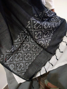 Handloom Black White Cotton Dhakai Jamdani Stole created by traditional artisans from East India