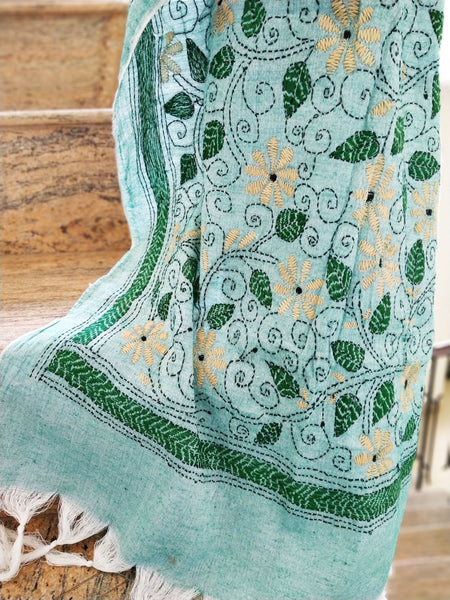 Handloom Green Silk Cotton Floral Kantha Stole created by traditional artisans from East India
