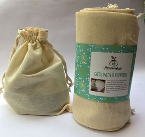 Eco-Friendly Kora Cotton Tamboolam/ Gift Bags (Small) - Pack of 12