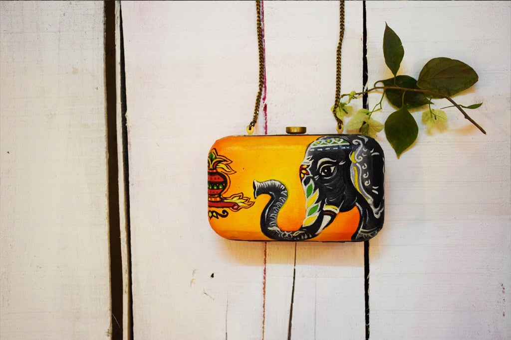 Kalash Hathi Clutch Hand Painted by Women Artisans