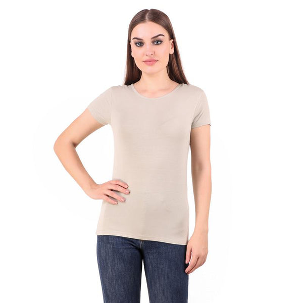 Women's Round Neck Bamboo T-shirt - Grey