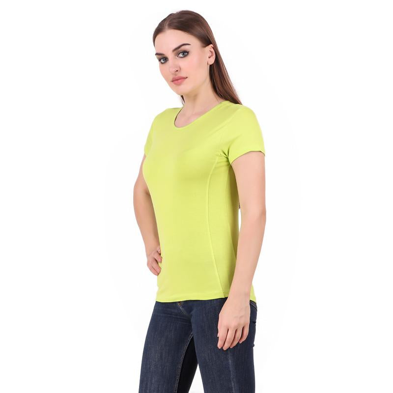 Women's Round Neck Bamboo T-shirt - Lime