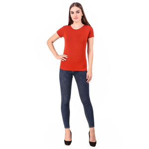 Women's Round Neck Bamboo T-shirt - Red