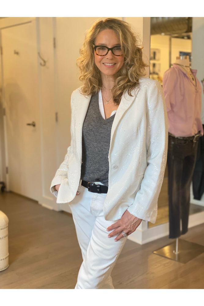 Zadig & Voltaire white sequin blazer and matching tank at west2westport.com