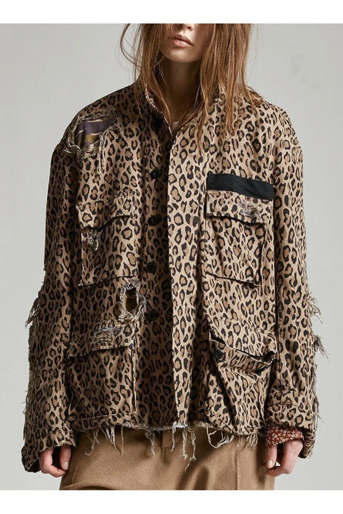 R13 Shredded Leopard Jacket