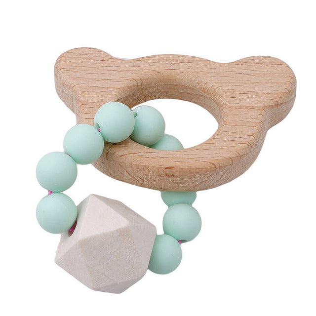 Wooden and Silicone Baby Teether