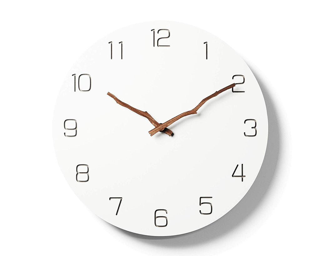 Simple Modern White Round Wooden Wall Clock 11 inch Non-ticking one AA battery powered (Arabic with Bough Hands) Australia