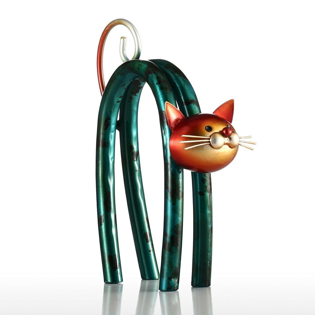 Tooarts Spring Little Cat Metal Modern Sculpture Home Decoration Ornament Gift Australia
