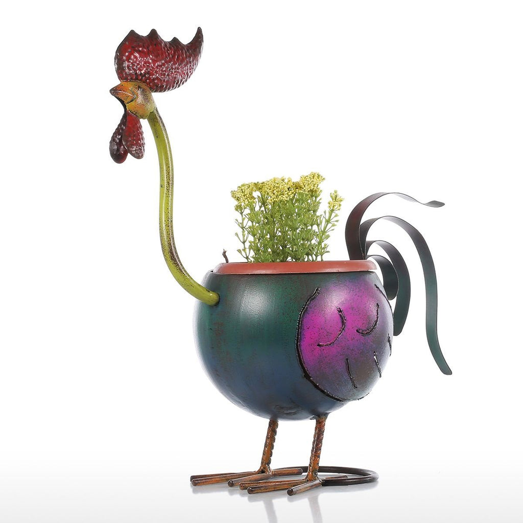 Rooster Flower Pot Garden Fower Pots Plastic Decoration Gift Plant in Pot Home Decoration Mini Pot Metal Multicolor Australia
