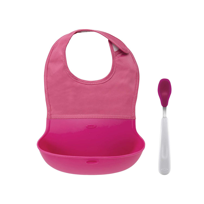 OXO Tot Roll Up Bib and Silicone Spoon Set - Pink Australia