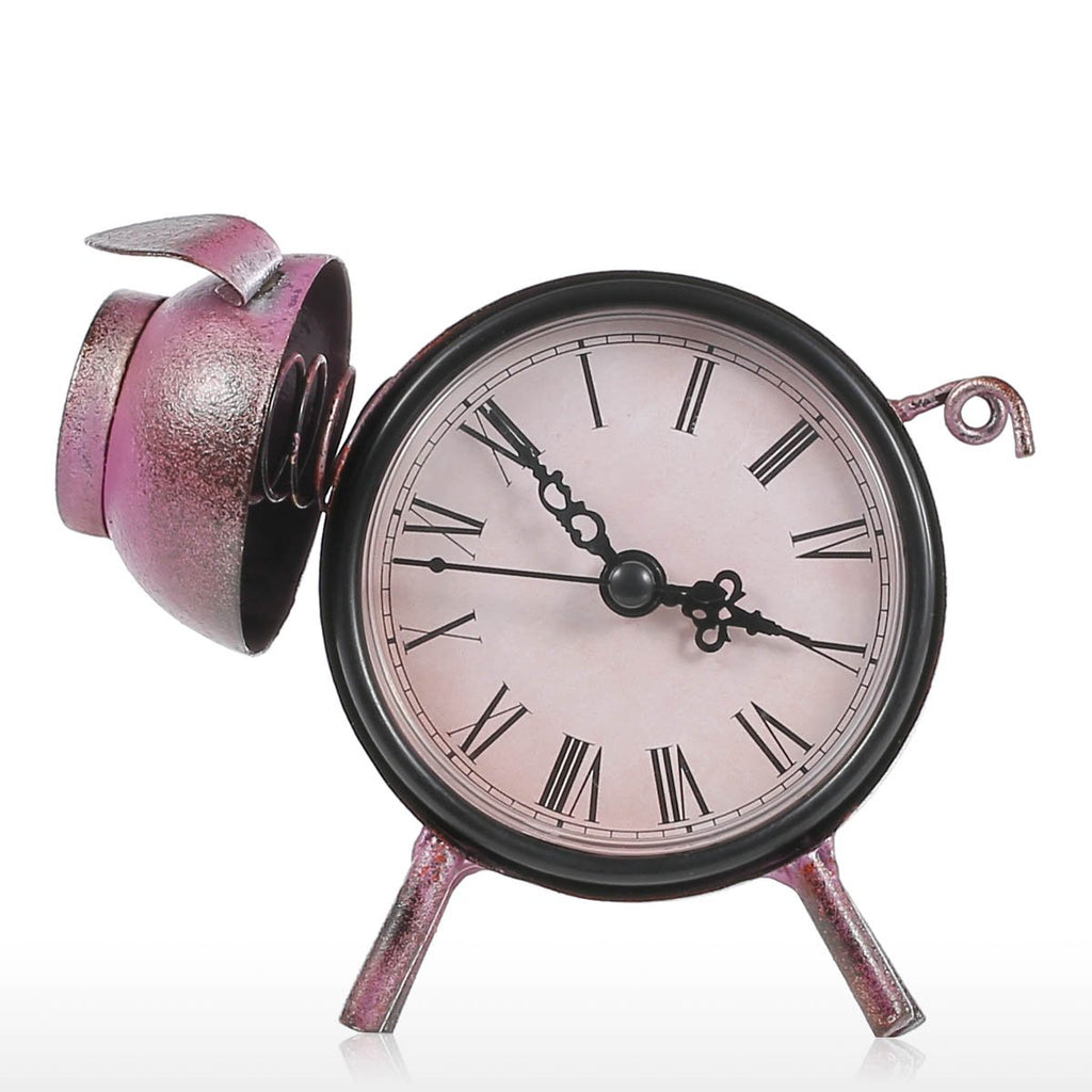 Tooarts Piggy Clock Handmade Vintage Metal Figurine Mute Table Clock Practical Clock One AA Battery Australia