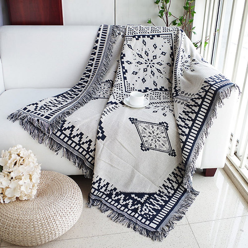 Dulcii Scandinavian Double Sided Knitted Multi-Function Throw Blanket Tapestry with Decorative Tassels for Sofa Bed Chair Couch Cover, Super and Lightweight, 51 X 71 Inches/130x180cm (Royal Rhombus) Australia