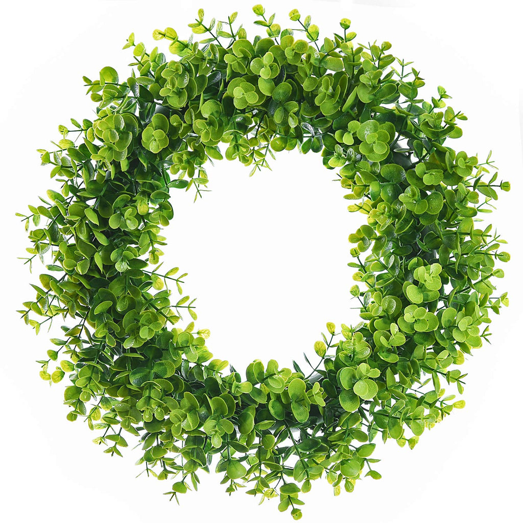 "Lvydec Artificial Green Leaves Wreath - 15"" Fake Eucalyptus Wreath Outdoor Green Wreath for Front Door Wall Window Party Décor Australia"