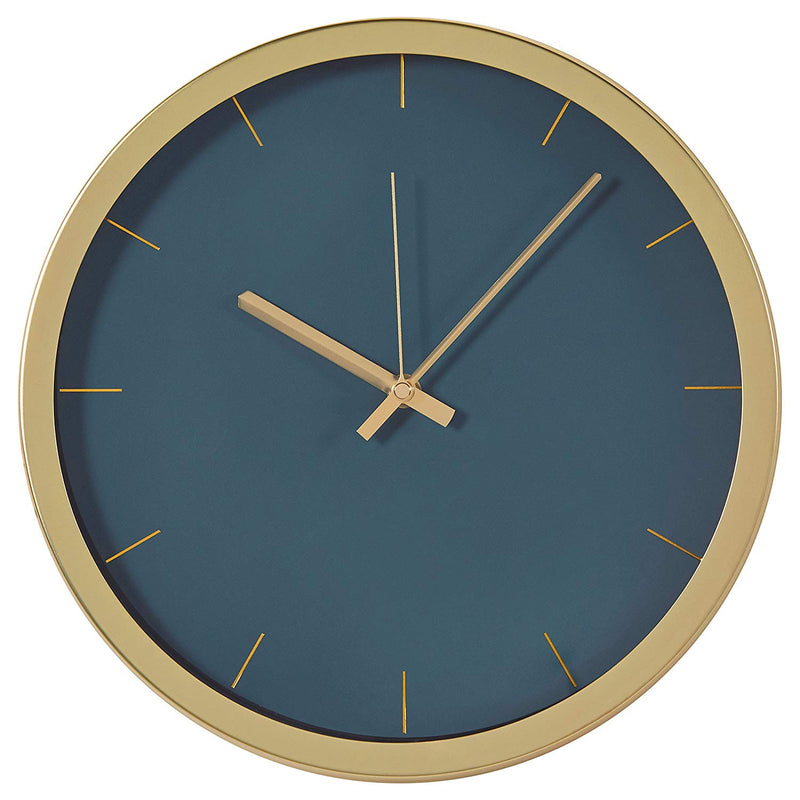 "Rivet Modern Brass Clock, 12""H, Green Australia"