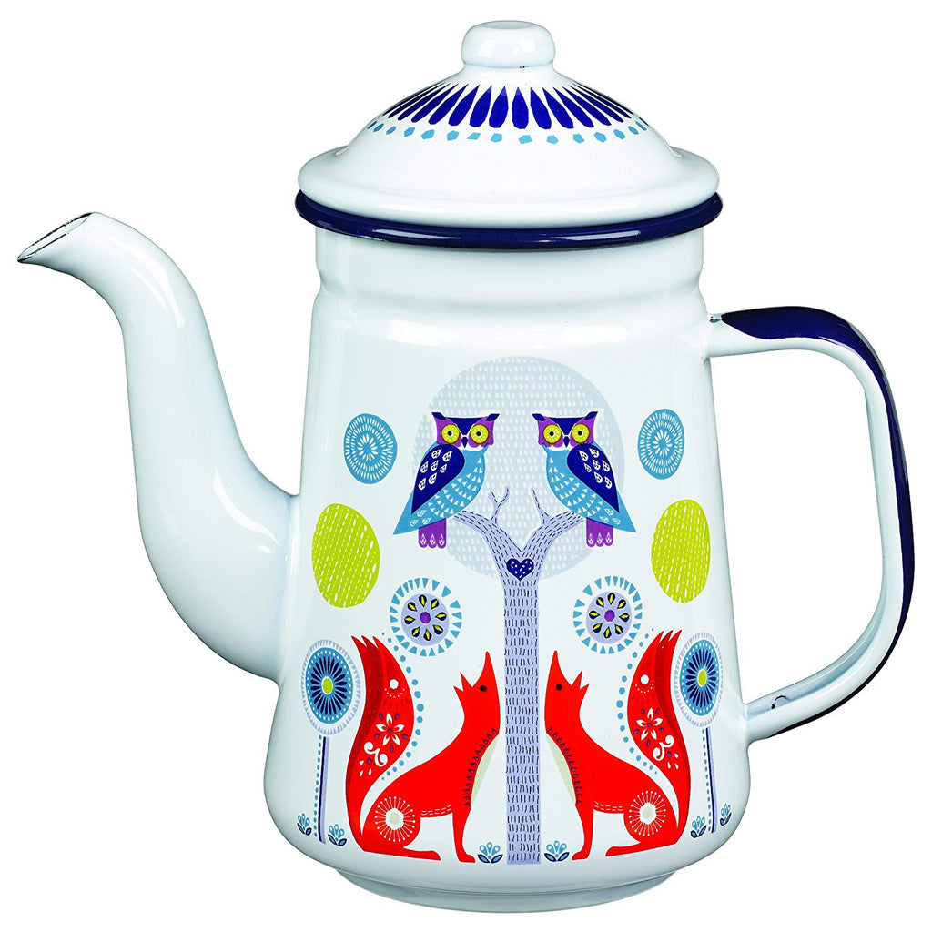 Folklore Enamel White Coffee Pot, Day Design (33 Ounces) Australia