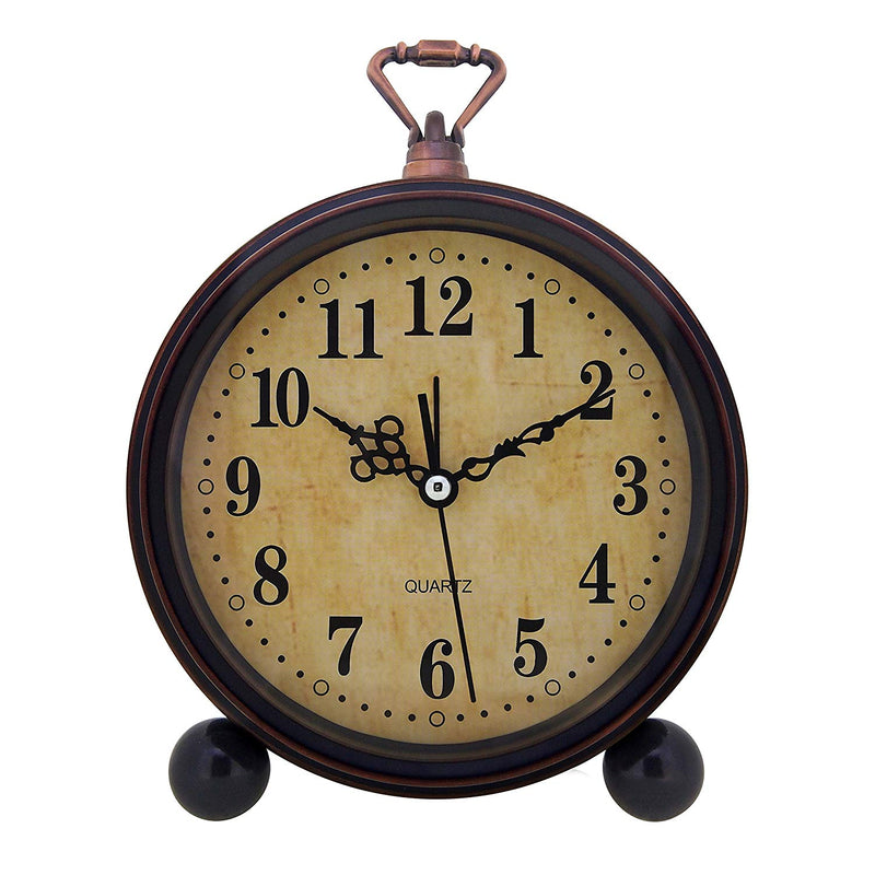 Konigswerk Vintage Retro Old Fashioned Decorative Quiet Non-Ticking Sweep Second Hand, Quartz Analog Large Numerals Desk Clock, Battery Operated, Loud Alarm (Classic) Australia