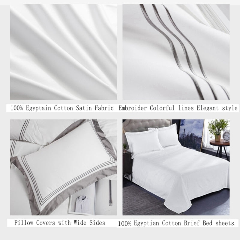 TUTUBIRD-Luxury Egyptian Cotton Duvet Covers Hotel Solid white Bedding Sets  Embrodierd bed sheet bedspread 4 pcs bed linen