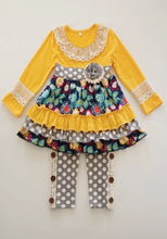 Load image into Gallery viewer, Must Have Mustard and Grey Polka dot Dot two piece outfit