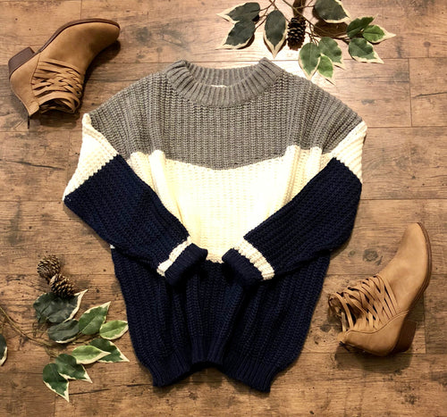 Chunky Knit Sweater Grey/Navy