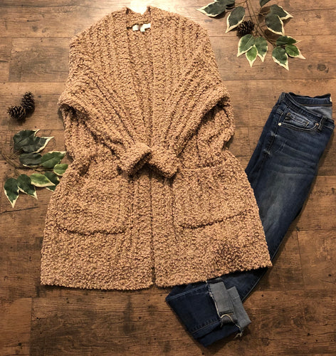 Ultra Cozy Popcorn Cardigan In Taupe