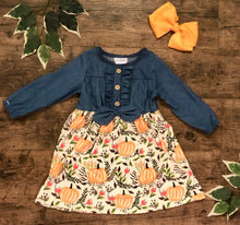 Load image into Gallery viewer, Denim pumpkin patch dress