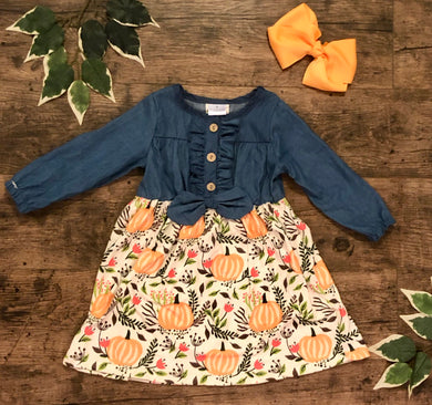 Denim pumpkin patch dress