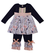 Load image into Gallery viewer, Baby pink and Navy Two peice outfit.