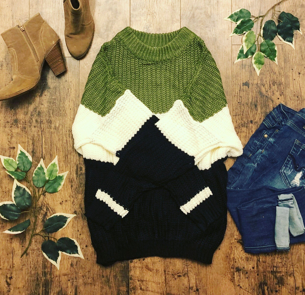Chunky knit sweater •olive and black