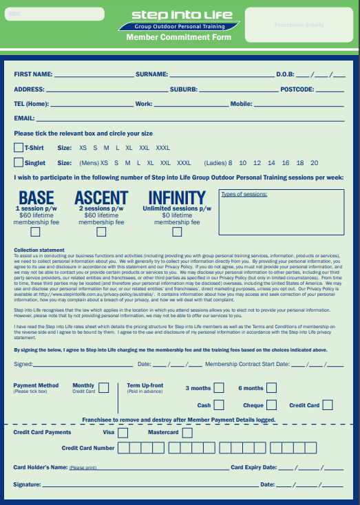 MEMBER COMMITMENT FORM (Pad 10)