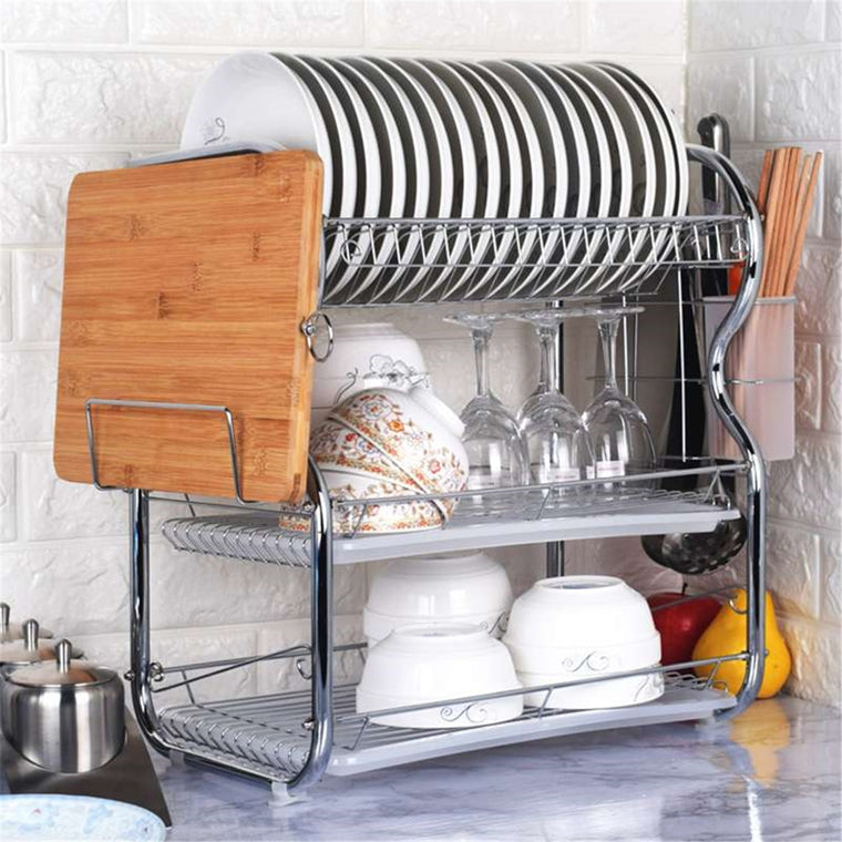 3 Layer Chrome Alloy Cutlery Stand