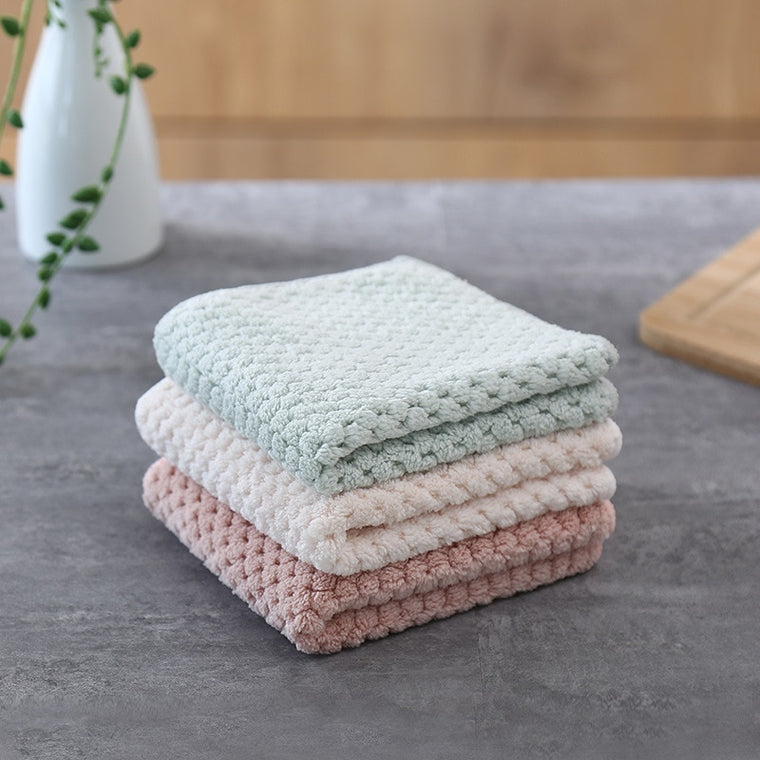 Household Kitchen Towels Coral Pile Thickening Microfiber Towel Water Absorbent Hand Cleaning Cloth