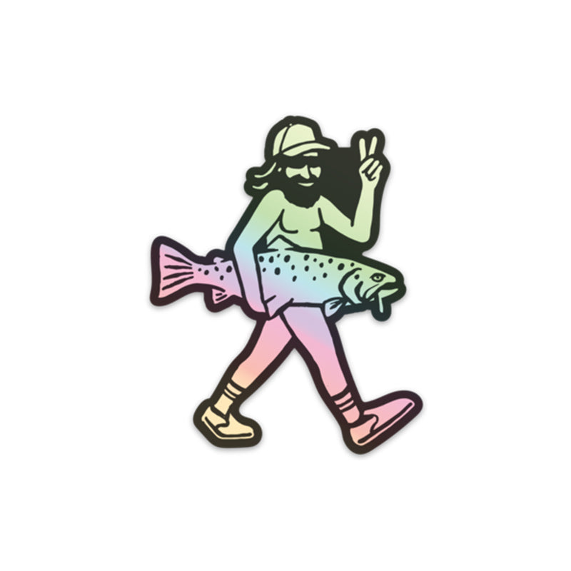 Peace Out Trout Holographic Sticker