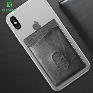 Leather 3M Adhesives Sticker Pocket Universal Credit Card Wallet Case For iPhone X 8 or Samsung