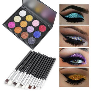 ISHOWTIENDA Profesional 12 Color Eyeshadow And 12 Pcs Makeup Brushes Eye Powder Shadow Set makeup