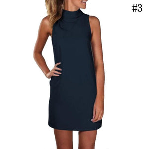 Womens Professional Women Clothing Casual High Collar Sleeveless Dress