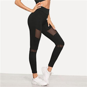 Black Minimalist Casual Wide Waistband Mesh Insert Skinny Solid Leggings