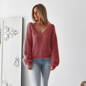 Winter Knitting Casual Long Sleeve Solid Colors Sweater Loose Female Sweater