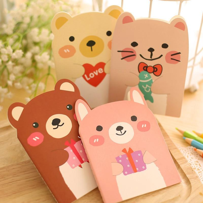 1pc Korean Creative Stationery Cute Bear Notebooks Small Animal Notepad Mini Notebook