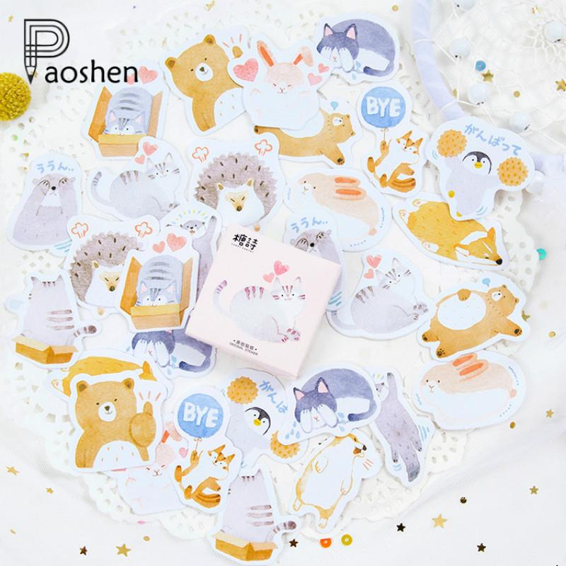 45 Pcs/box Cute Animal Hedgehog Mini Paper Sticker