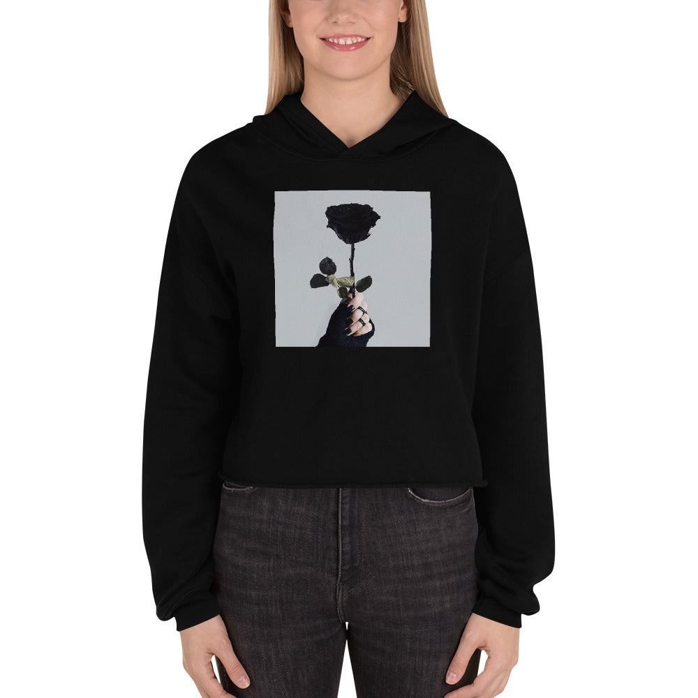 Aesthetic Rose Crop Hoodie - Black Aesthetics